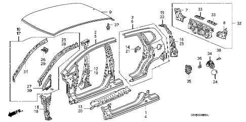 2008 fit BASE 5 DOOR 5MT OUTER PANEL - REAR PANEL (PLASMA STYLE PANEL) diagram