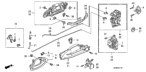 2008 fit BASE 5 DOOR 5MT REAR DOOR LOCKS - OUTER HANDLE diagram