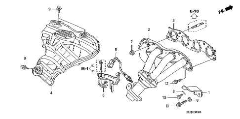 2007 fit SPORT 5 DOOR 5MT EXHAUST MANIFOLD diagram
