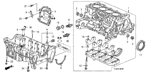 2008 fit BASE 5 DOOR 5MT CYLINDER BLOCK - OIL PAN diagram