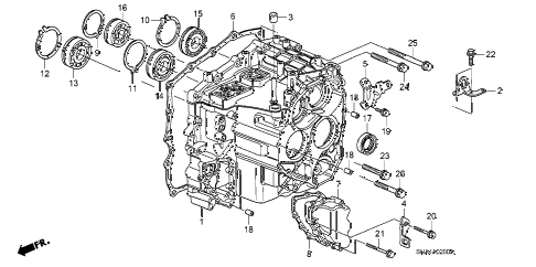2007 civic DX 4 DOOR 5AT TRANSMISSION CASE diagram