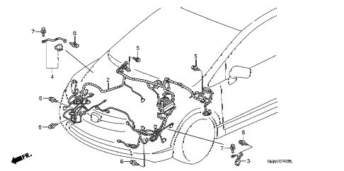 2007 civic EX 4 DOOR 5AT WIRE HARNESS (1) diagram