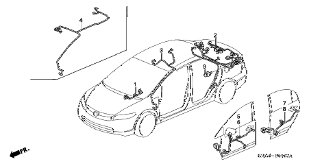2007 civic EX 4 DOOR 5AT WIRE HARNESS (4) diagram