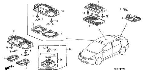 2008 civic DX(AC) 4 DOOR 5AT INTERIOR LIGHT diagram