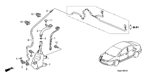 2007 civic EX(NAV) 4 DOOR 5AT WINDSHIELD WASHER (1) diagram