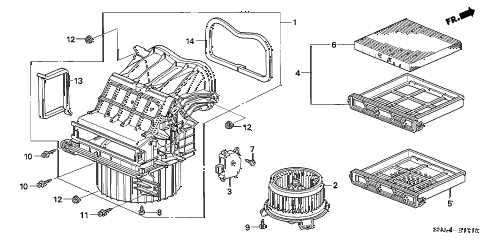 2008 civic EX 4 DOOR 5AT HEATER BLOWER diagram