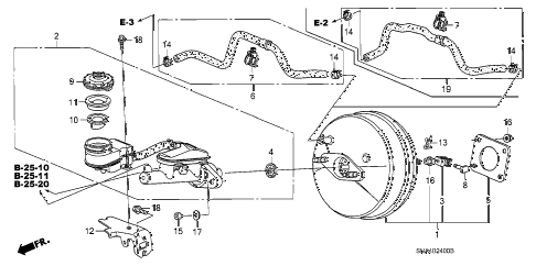 2008 civic DX(AC) 4 DOOR 5AT BRAKE MASTER CYLINDER  - MASTER POWER (KA/KC) diagram