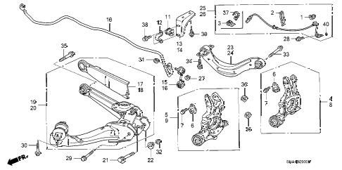 2007 civic EX(NAV) 4 DOOR 5AT REAR LOWER ARM diagram
