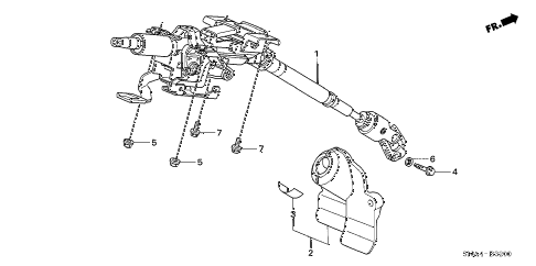 2008 civic EX 4 DOOR 5AT STEERING COLUMN diagram