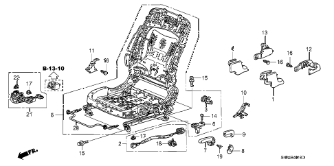 2007 civic EX 4 DOOR 5AT FRONT SEAT COMPONENTS (L.) diagram