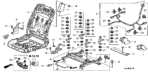 2006 civic EX(NAV) 4 DOOR 5AT FRONT SEAT COMPONENTS (R.) (SWS) diagram