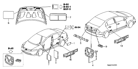 2008 civic EX(TRANS-#MPCA-2* 4 DOOR 5AT EMBLEMS - CAUTION LABELS diagram