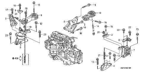 2007 civic EX(NAV) 4 DOOR 5AT ENGINE MOUNTS (AT) diagram