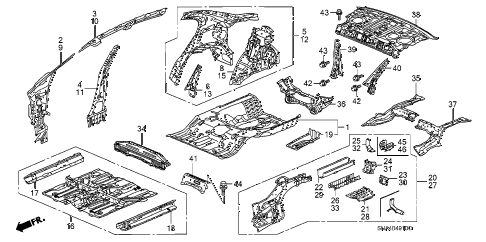 2007 civic DX 4 DOOR 5AT FLOOR - INNER PANEL diagram