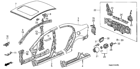 2007 civic EX 4 DOOR 5AT OUTER PANEL - REAR PANEL diagram