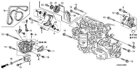 2007 civic EX(NAV) 4 DOOR 5AT ALTERNATOR BRACKET (1.8L) diagram