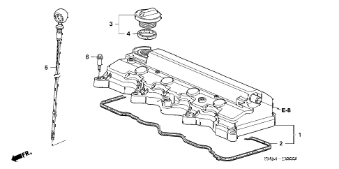 2008 civic EX 4 DOOR 5AT CYLINDER HEAD COVER (1.8L) diagram