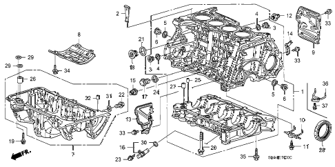 2008 civic EX 4 DOOR 5AT CYLINDER BLOCK - OIL PAN (1.8L) diagram