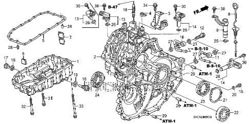 2010 civic MX(HYBRID LEA NAV 4 DOOR CVT TRANSMISSION CASE diagram
