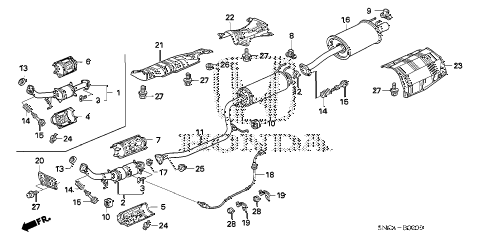 2010 civic MX(HYBRID) 4 DOOR CVT EXHAUST PIPE - MUFFLER diagram