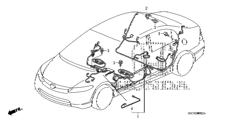 2010 civic MX(HYBRID LEA NAV 4 DOOR CVT WIRE HARNESS (3) diagram