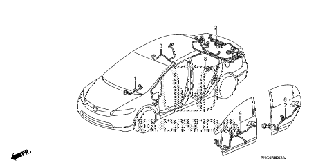 2010 civic MX(HYBRID LEATHER 4 DOOR CVT WIRE HARNESS (4) diagram