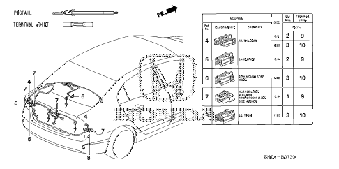 2010 civic MX(HYBRID LEA NAV 4 DOOR CVT ELECTRICAL CONNECTORS (RR.) diagram