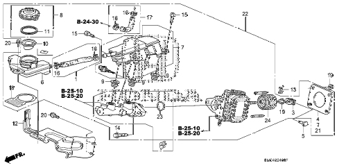 2009 civic MX(HYBRID LEATHER 4 DOOR CVT BRAKE MASTER CYLINDER  - MASTER POWER (KA/KC) diagram