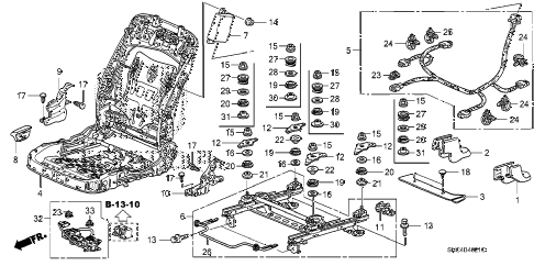 2009 civic MX(HYBRID NAVI) 4 DOOR CVT FRONT SEAT COMPONENTS (R.) (SWS) diagram