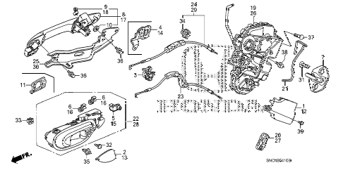 2010 civic MX(HYBRID) 4 DOOR CVT REAR DOOR LOCKS - OUTER HANDLE diagram