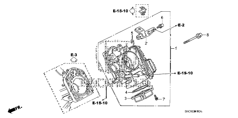 2010 civic MX(HYBRID LEA NAV 4 DOOR CVT THROTTLE BODY diagram