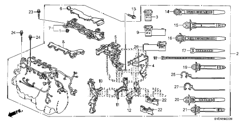 2009 civic MX(HYBRID LEA NAV 4 DOOR CVT ENGINE WIRE HARNESS diagram