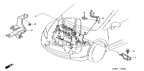 2009 civic MX(HYBRID LEATHER 4 DOOR CVT ENGINE WIRE HARNESS STAY diagram