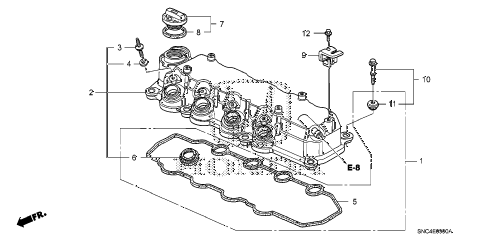2011 civic MX(HYBRID) 4 DOOR CVT CYLINDER HEAD COVER diagram