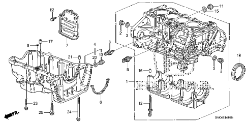 2010 civic MX(HYBRID) 4 DOOR CVT CYLINDER BLOCK - OIL PAN diagram