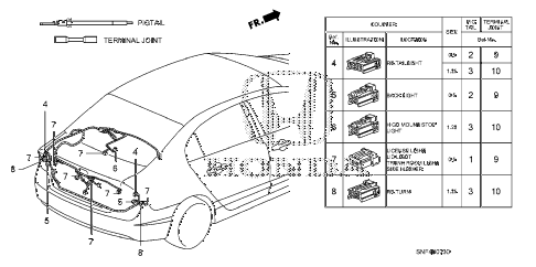 2009 civic GX 4 DOOR 5AT ELECTRICAL CONNECTORS (RR.) diagram