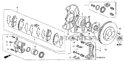 2009 civic GX 4 DOOR 5AT FRONT BRAKE diagram