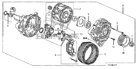 2009 civic GX 4 DOOR 5AT ALTERNATOR (MITSUBISHI) diagram