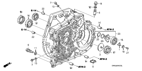 2007 civic DX 2 DOOR 5AT TORQUE CONVERTER CASE diagram