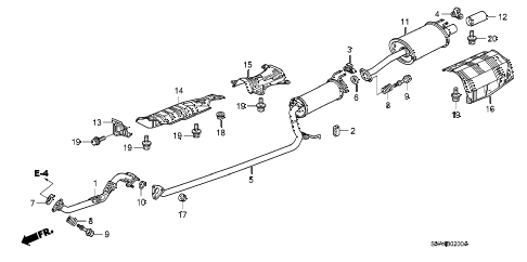 2007 civic LX 2 DOOR 5MT EXHAUST PIPE - MUFFLER (1.8L) diagram
