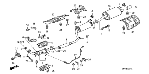 2008 civic SI(SUM TIRE,NAV) 2 DOOR 6MT EXHAUST PIPE - MUFFLER (2.0L) diagram