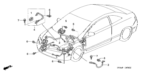 2006 civic EX(NAV) 2 DOOR 5AT WIRE HARNESS (1) diagram