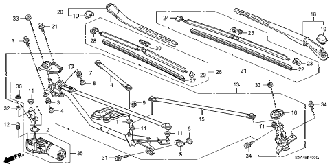 2006 civic SI 2 DOOR 6MT FRONT WINDSHIELD WIPER diagram