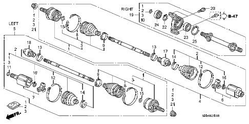 2008 civic LX 2 DOOR 5MT DRIVESHAFT - HALF SHAFT (1.8L) (MT) diagram