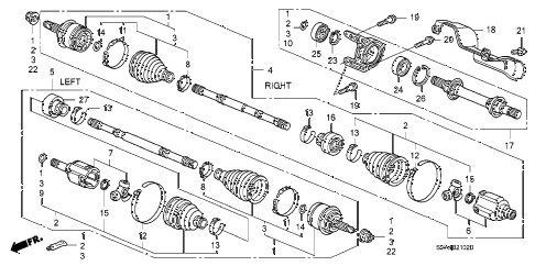 2009 civic SI(SUM TIRE,NAV) 2 DOOR 6MT DRIVESHAFT - HALF SHAFT (2.0L) diagram