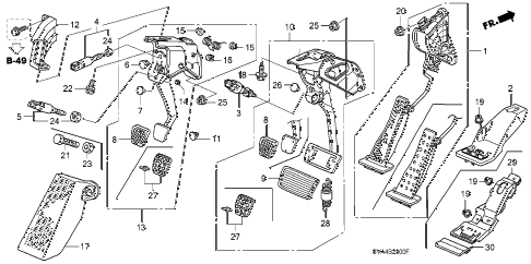 2007 civic SI(NAV) 2 DOOR 6MT PEDAL diagram