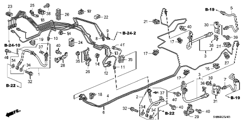 2007 civic DX 2 DOOR 5AT BRAKE LINES (ABS) (DRUM) diagram
