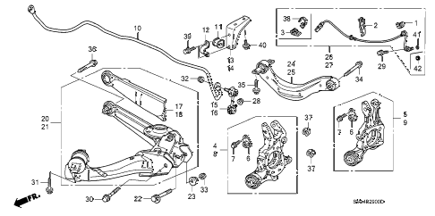 2009 civic EX 2 DOOR 5AT REAR LOWER ARM diagram