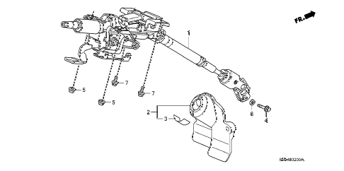 2008 civic DX 2 DOOR 5AT STEERING COLUMN diagram