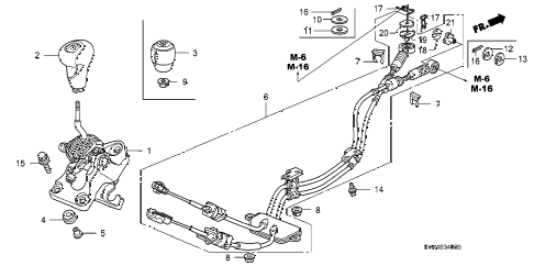 2006 civic SI 2 DOOR 6MT SHIFT LEVER diagram